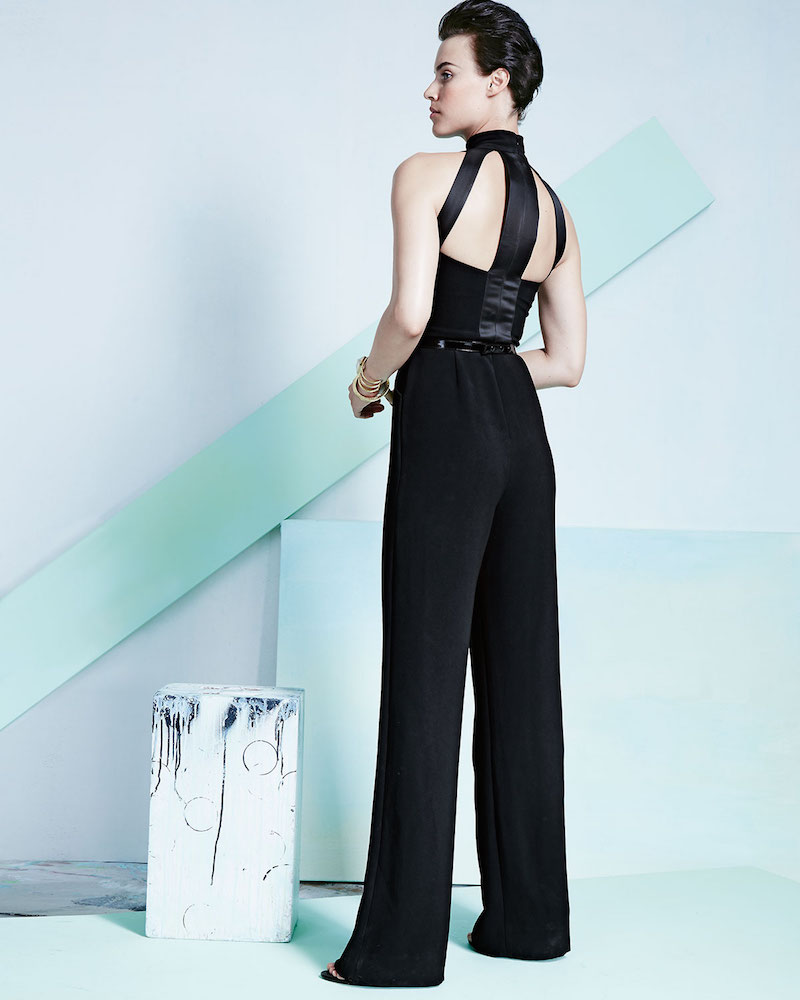 Theia by Don O'Neill Sleeveless Crepe Belted Jumpsuit