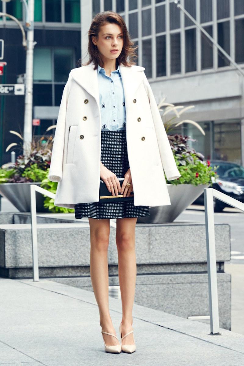 Trina Turk Bethany Wool Blend A-Line Peacoat