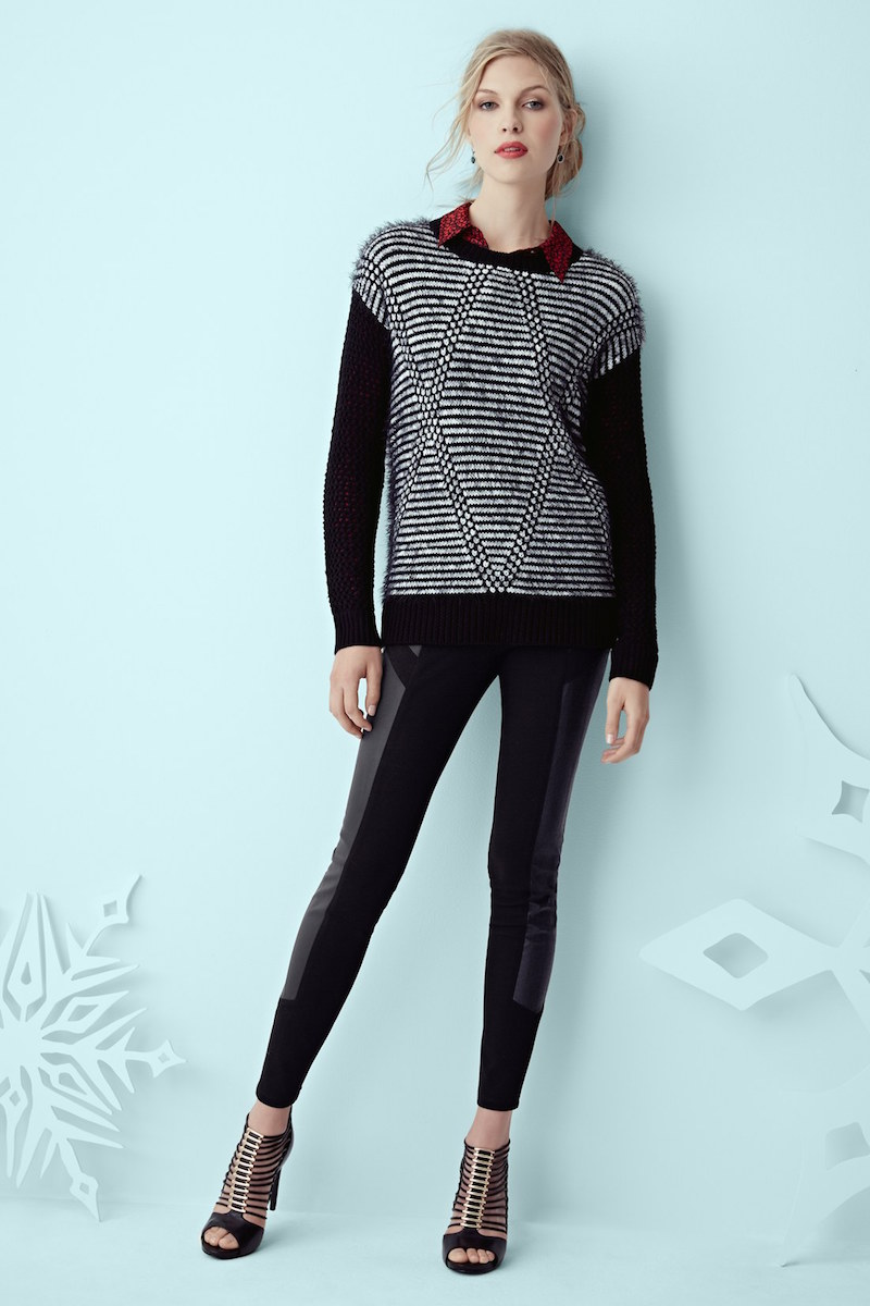 Two by Vince Camuto Argyle Eyelash Knit Sweater