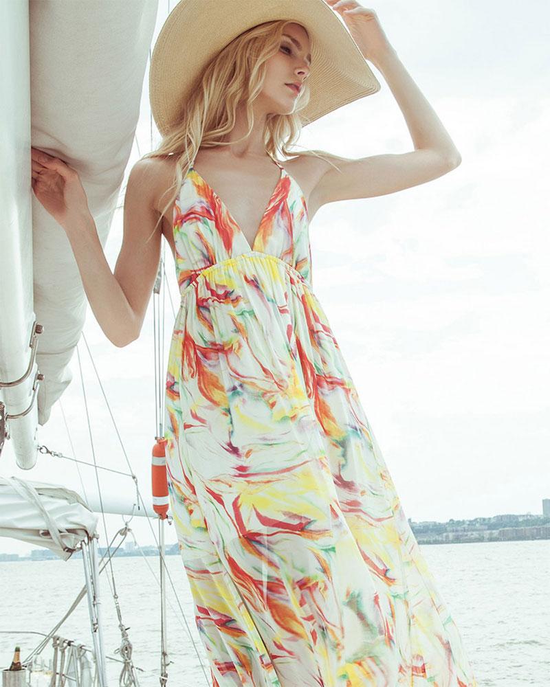 Alice + Olivia McBain Printed Silk Halter Dress