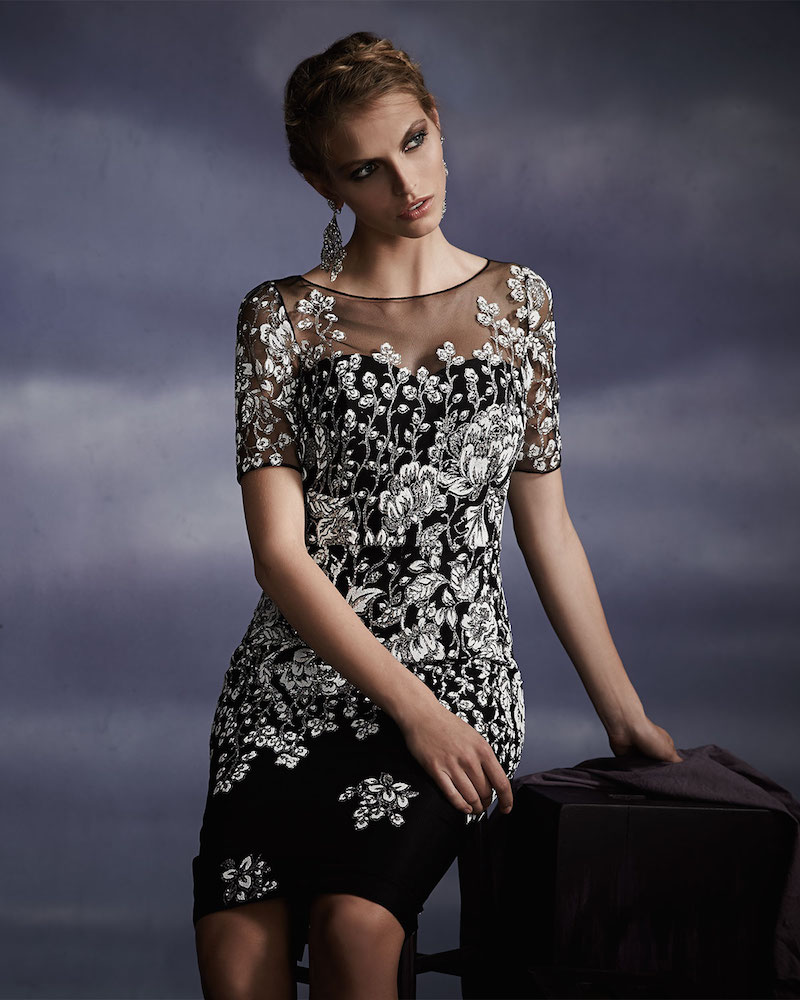 Badgley Mischka Collection Short-Sleeve Floral Overlay Cocktail Dress