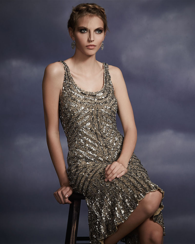 Badgley Mischka Collection Sleeveless Beaded Cocktail Dress