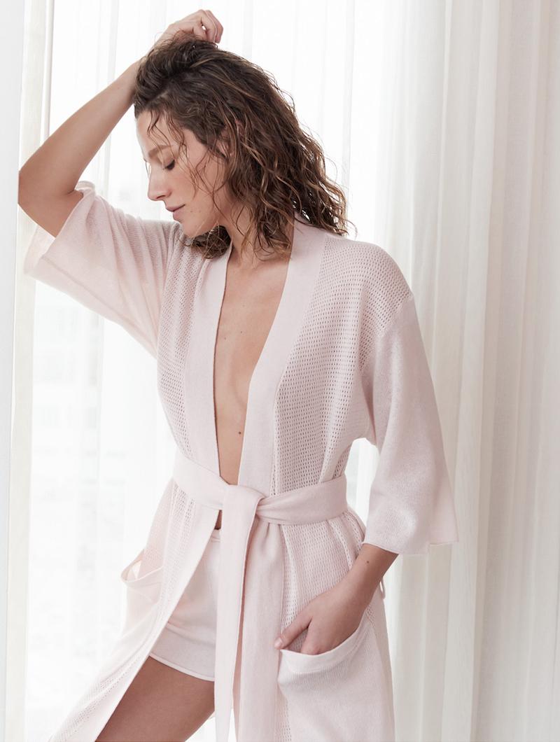 Barneys New York x ATM Anthony Thomas Melillo Open-Work Stitch Kimono Robe
