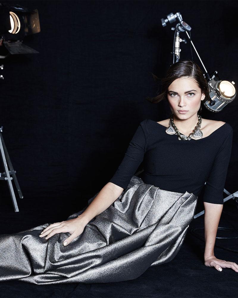 Black Halo Eve Hayley Metallic-Skirt Combo Gown