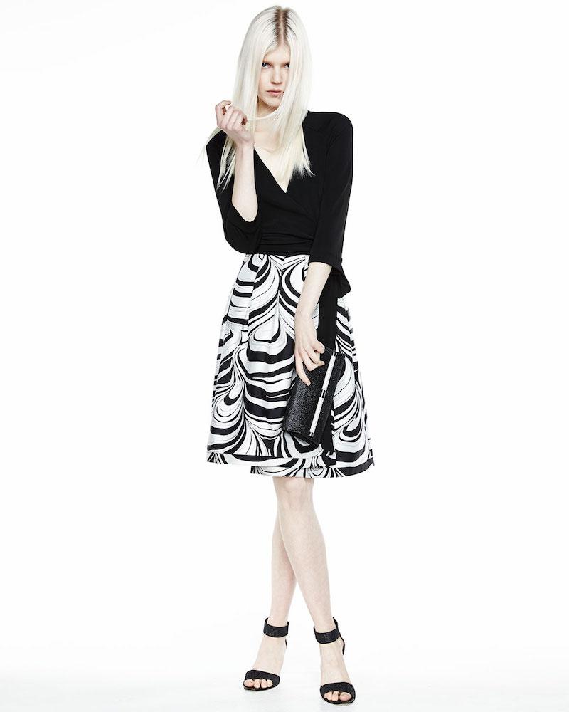 Diane von Furstenberg Jewel Faux-Wrap Dress With Printed Skirt
