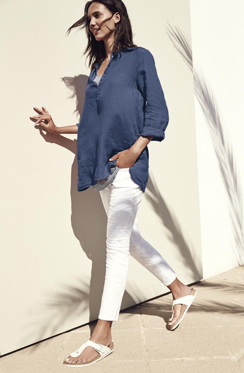 Eileen Fisher Mandarin Collar Organic Linen Tunic