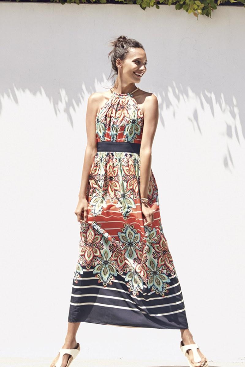 Eliza J Print Crêpe de Chine Halter Maxi Dress