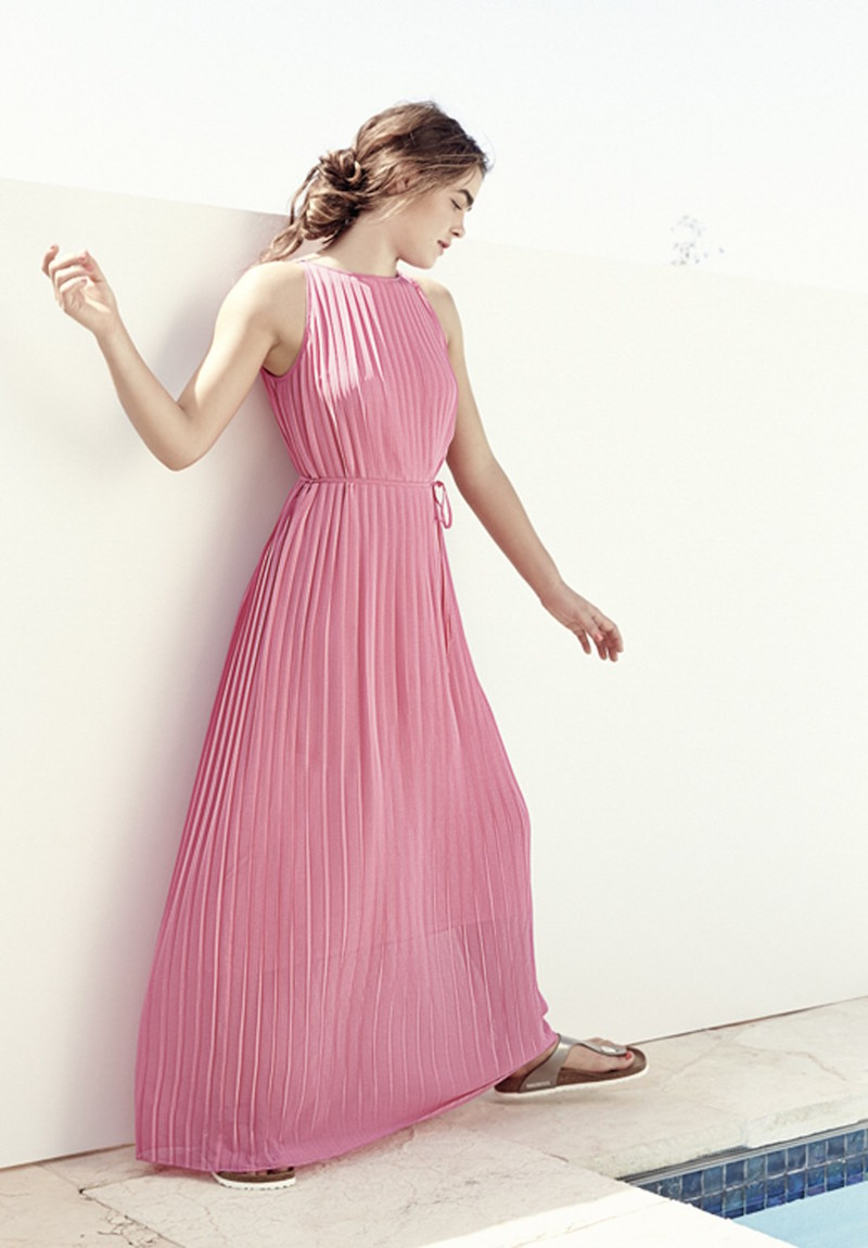 FELICITY & COCO Pleated Chiffon Maxi Dress