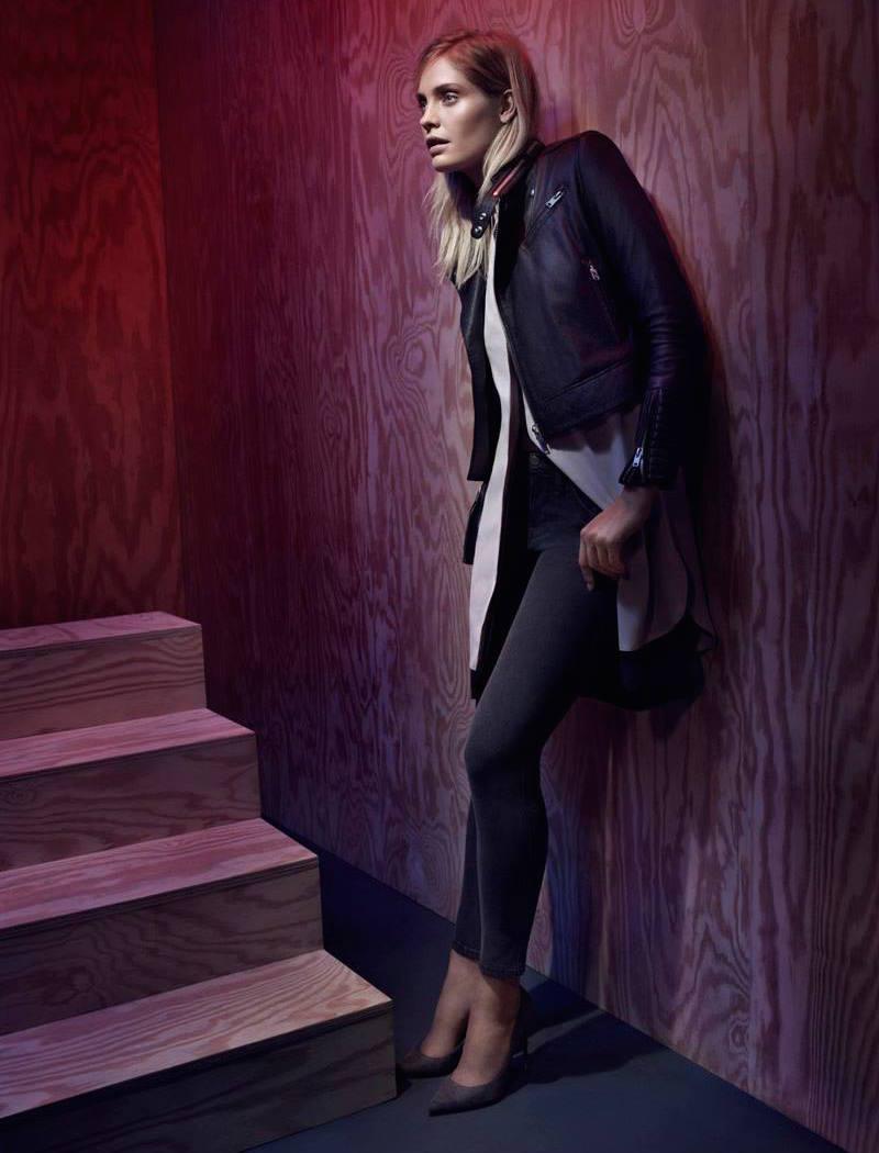 IRO Luciana Knit Collar Moto Leather Jacket