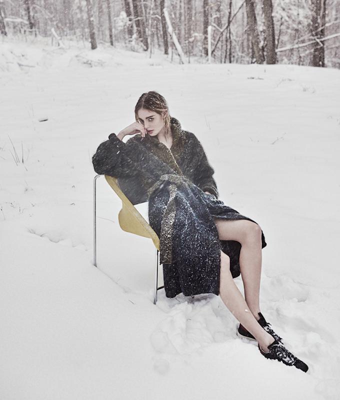 Isabel Marant Olive & Navy Knit Floyd Coat