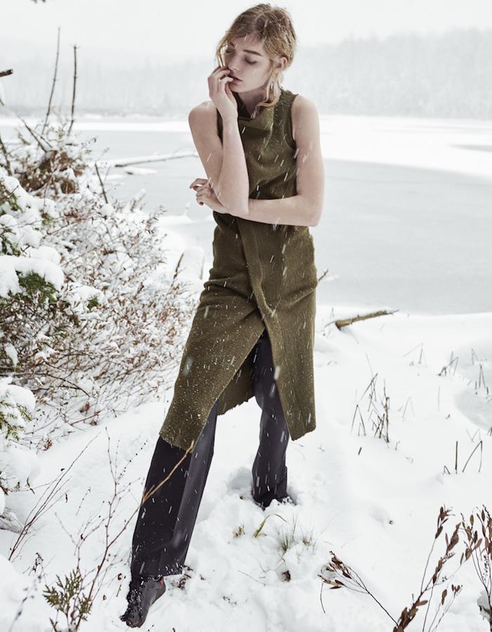 Isabel Marant Olive Wool & Angora Kendal Wrap Dress