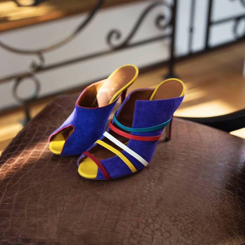 Malone Souliers Margot Suede and Leather Mules