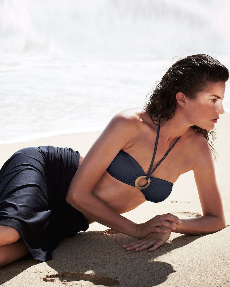 Michael Kors Draped Jersey Bandeau Bikini Two-Piece