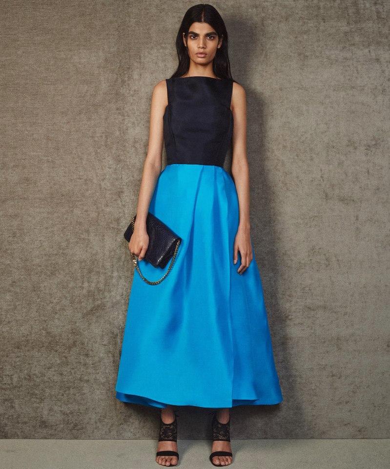 Monique Lhuillier Colorblock Gazar Sleeveless Gown
