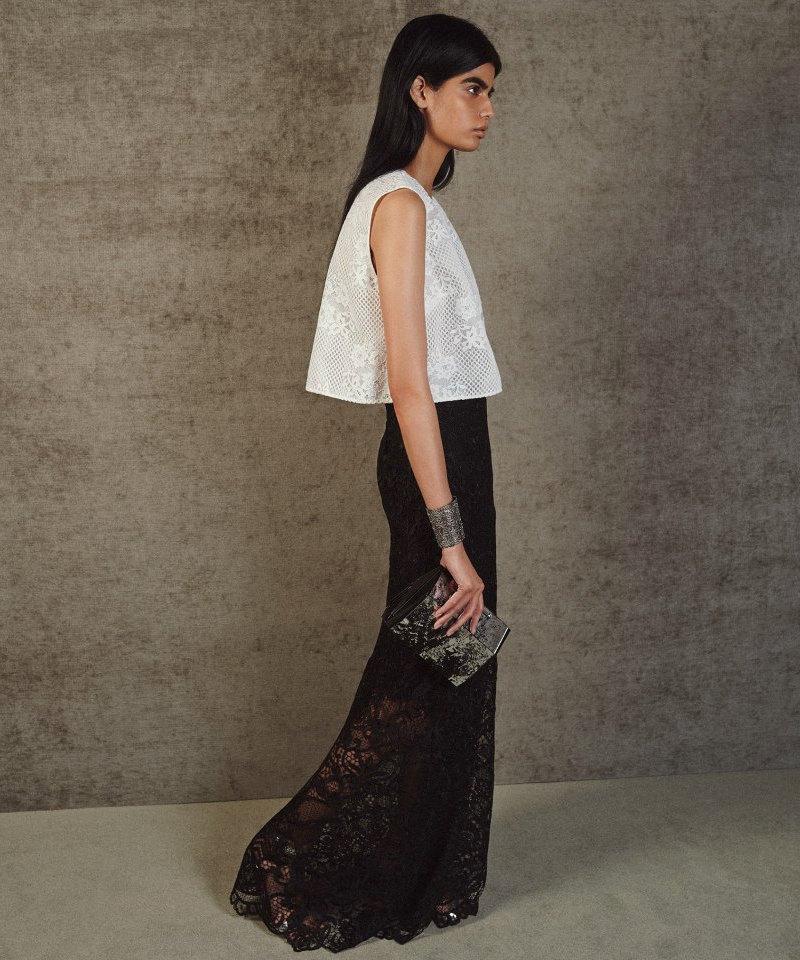 Monique Lhuillier Guipure Lace Column Skirt