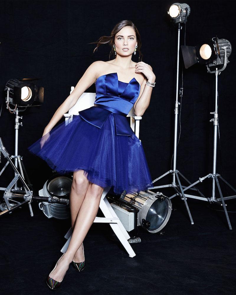 Nha Khanh Nadia Strapless Satin/Tulle Dress
