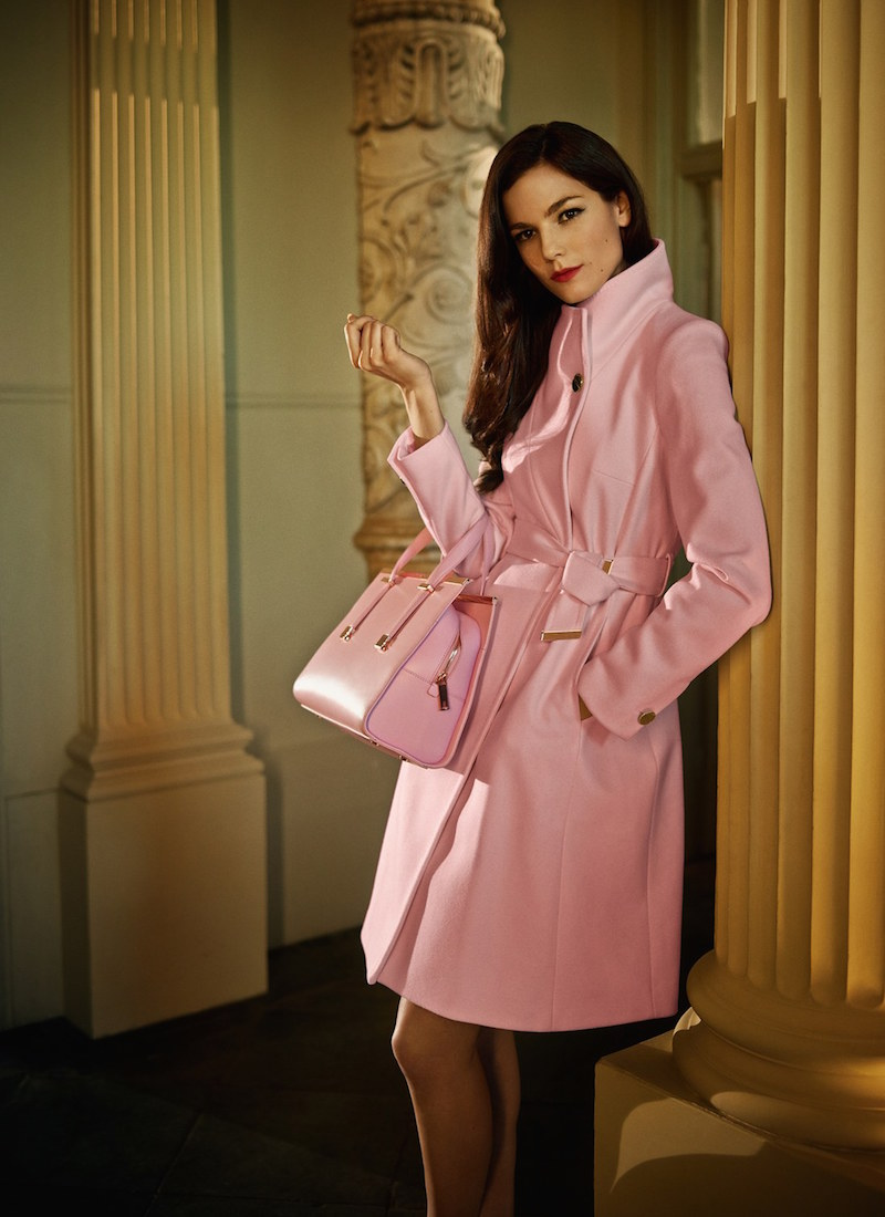 Ted Baker London Nevia Stand Collar Belted Wrap Coat
