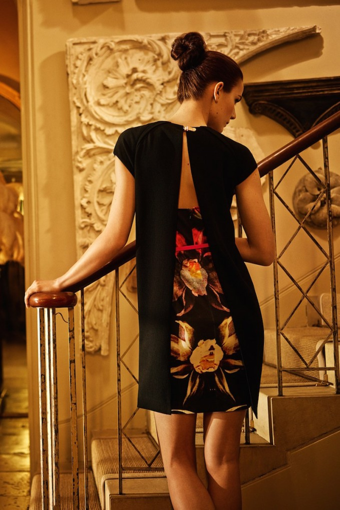 Ted Baker London Rozean Print Cape Back Belted Sheath Dress