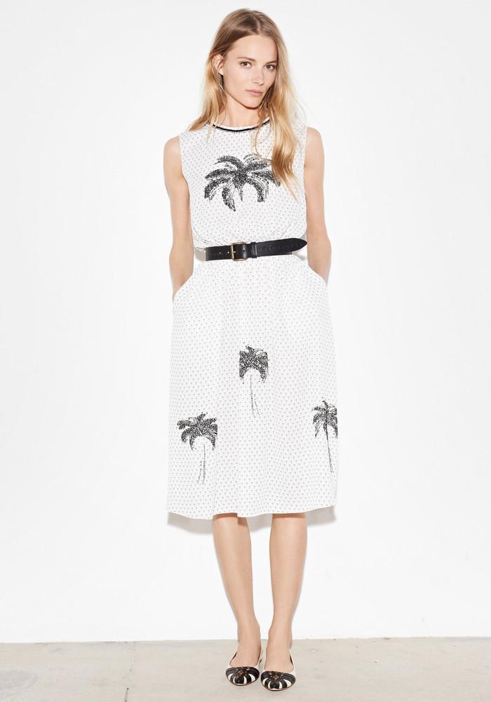 Tomas Maier Embellished Palm-print Dress