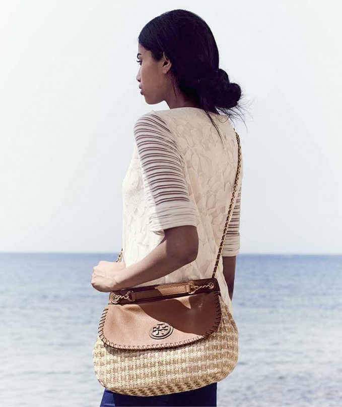 Tory Burch Marion Woven Straw Saddle Bag