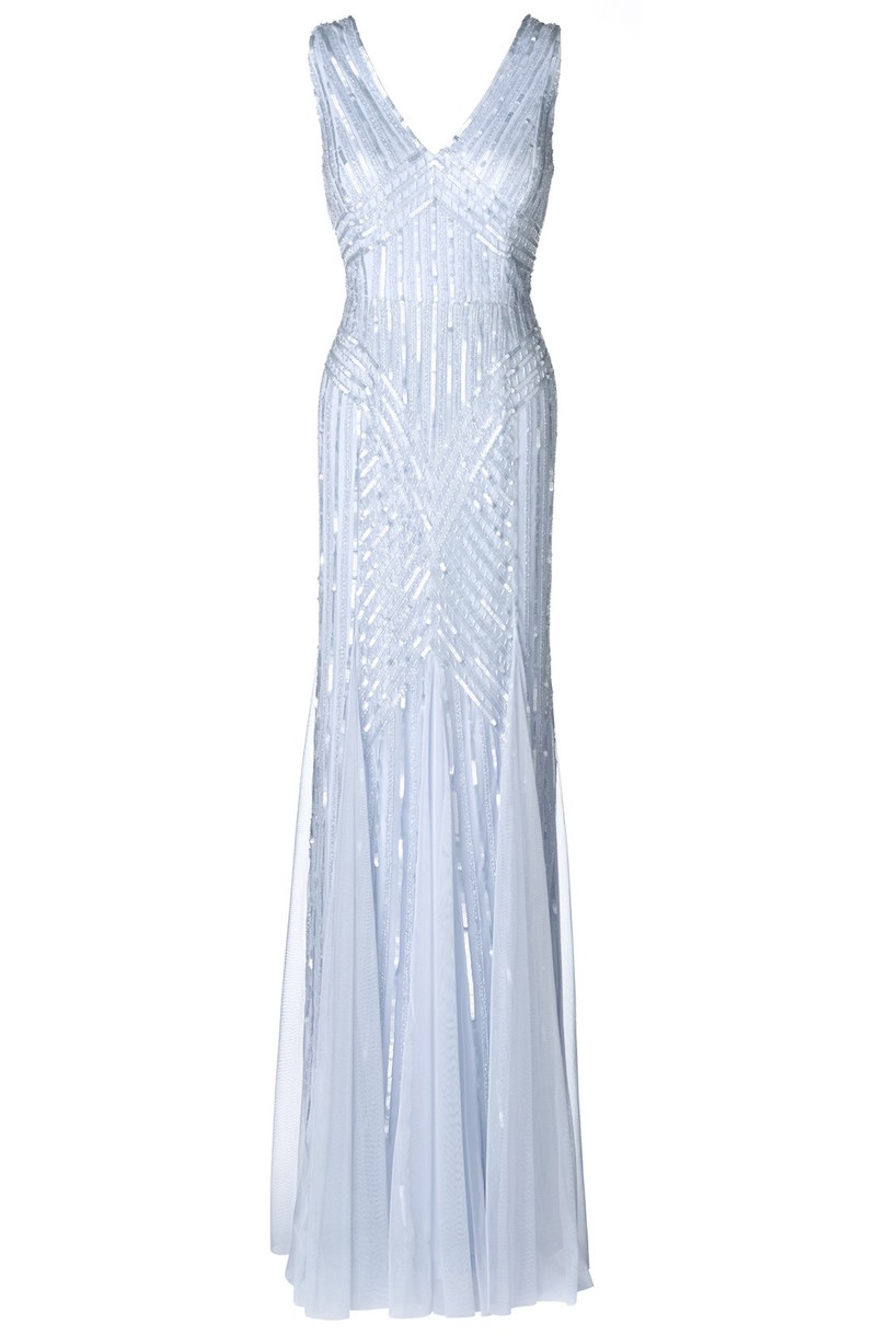 Adrianna Papell Beaded Mesh V-Neck Trumpet Gown