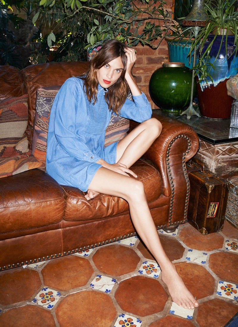Alexa Chung for AG The Julie Pintucked Denim Mini Dress