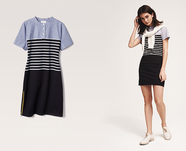 Band of Outsiders Short Sleeve Breton Stripe Dress