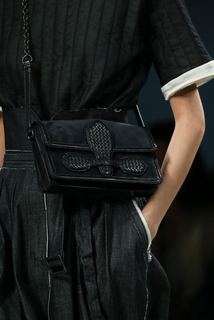 Bottega Veneta Rialto Leather, Suede Shoulder Bag, Navy