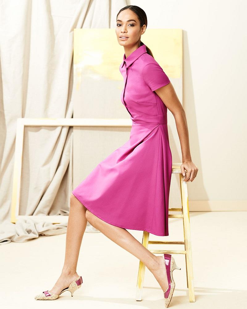 Carolina Herrera Short-Sleeve A-Line Shirtdress