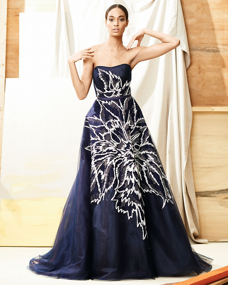 Carolina Herrera Strapless Floral-Embroidered Tulle Ball Gown