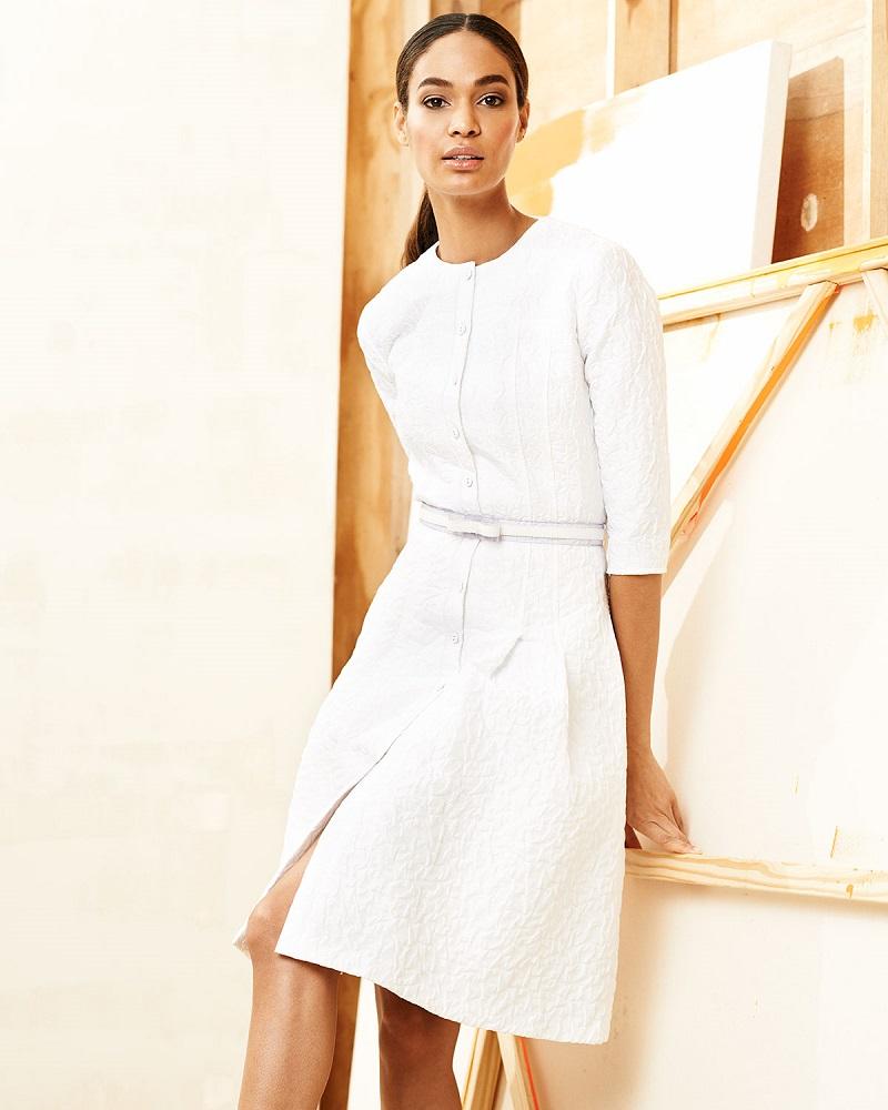 Carolina Herrera Three-Quarter-Sleeve Bubble-Jacquard Shirtdress