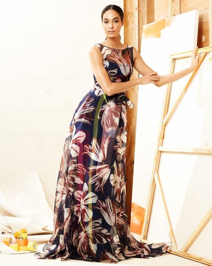Carolina Herrera Tulip-Print Organza Gown
