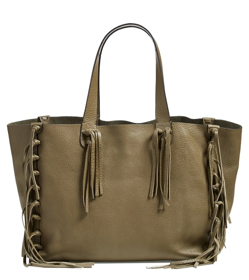 'Crockee' Fringed Leather Tote