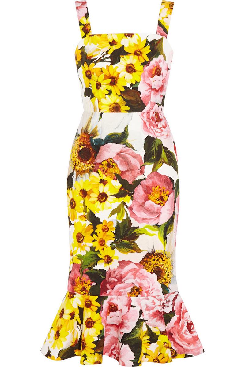 Dolce & Gabbana Floral-print Textured Stretch-cotton Dress