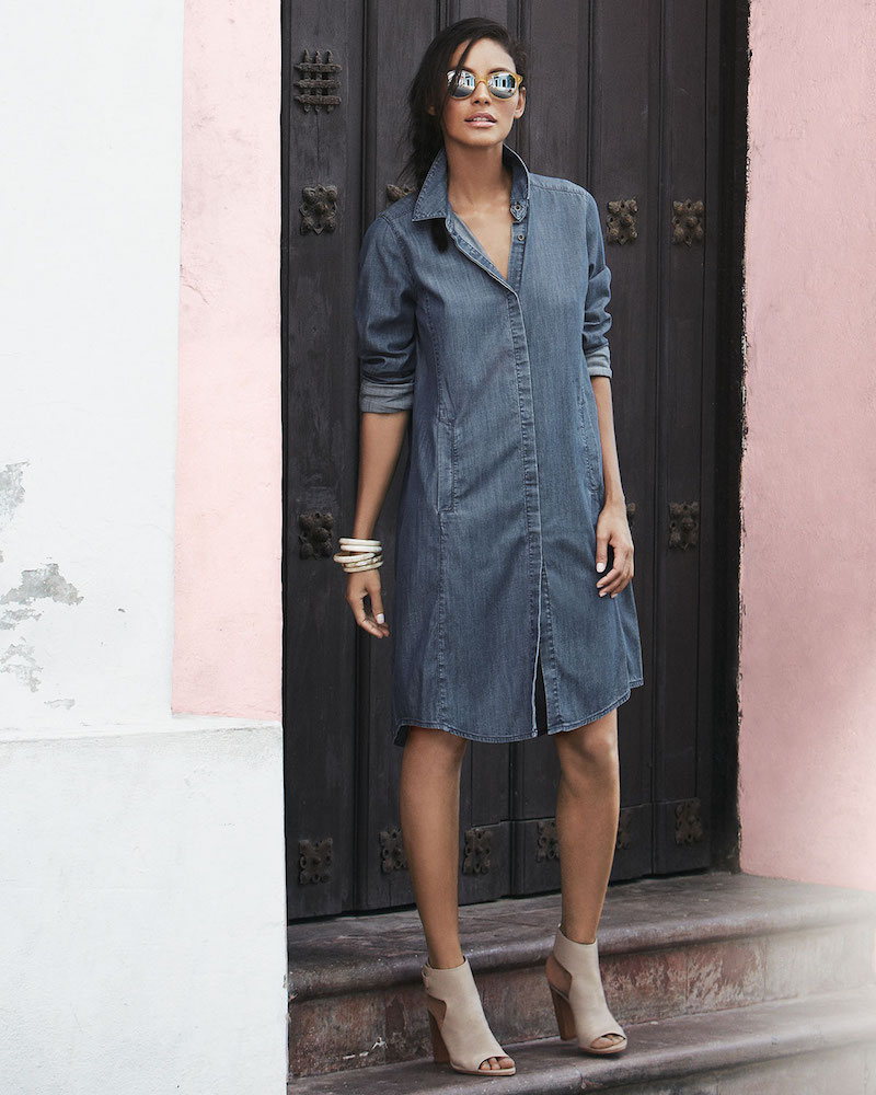 Eileen Fisher Denim Long-Sleeve Dress with Pockets