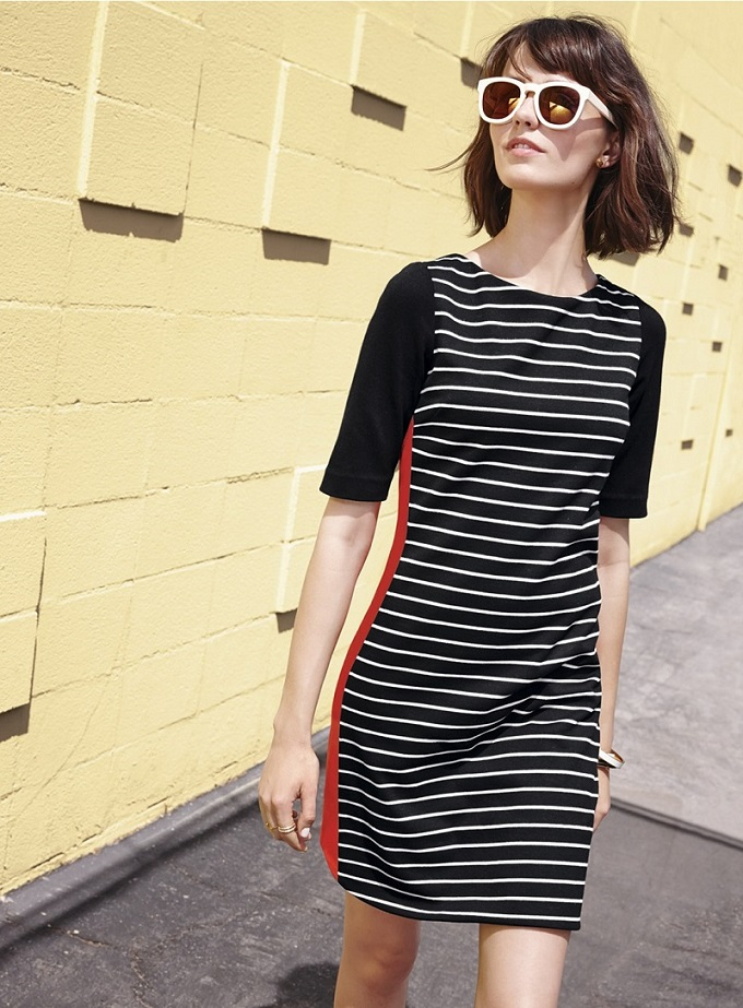Eliza J Mixed Stripe Ponte Shift Dress