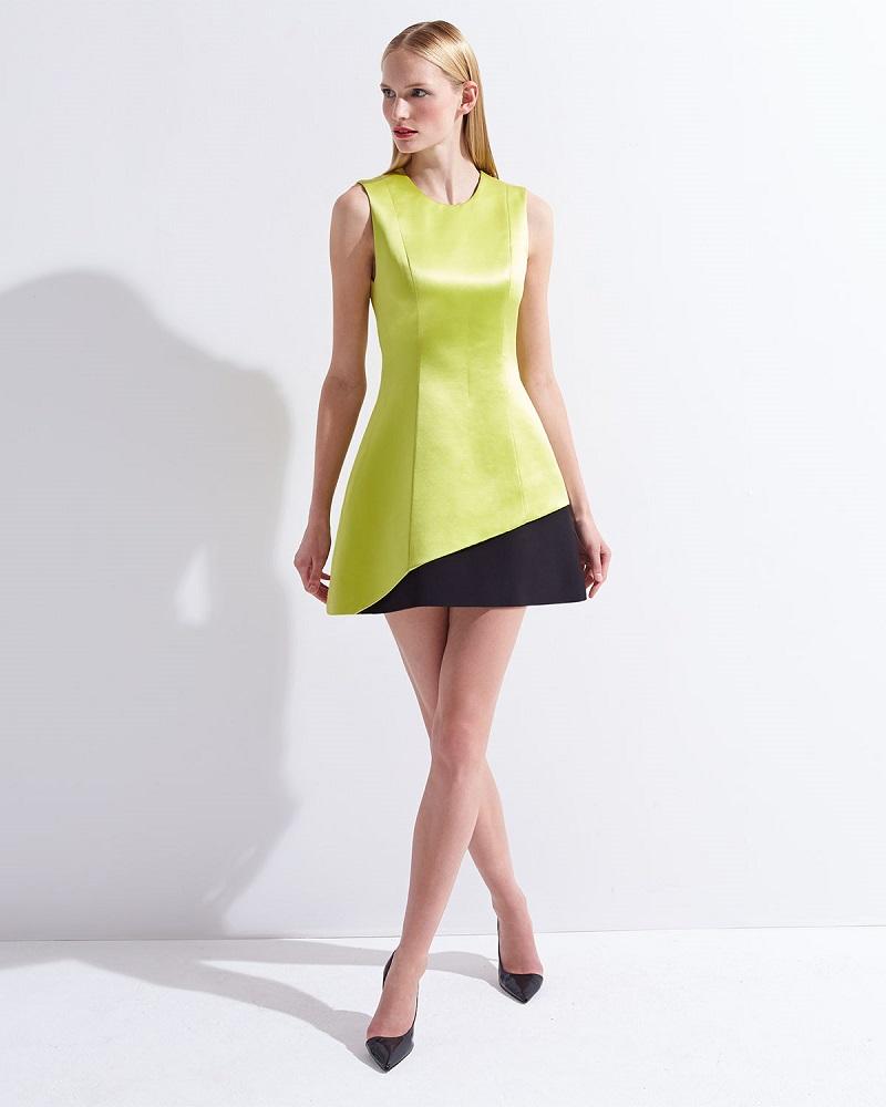Fausto Puglisi Jewel-Neck Contrast Hem Dress