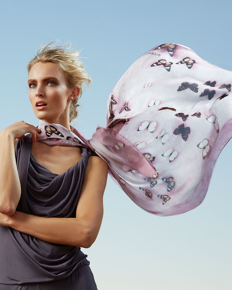 Givenchy Silk Satin Butterflies Scarf