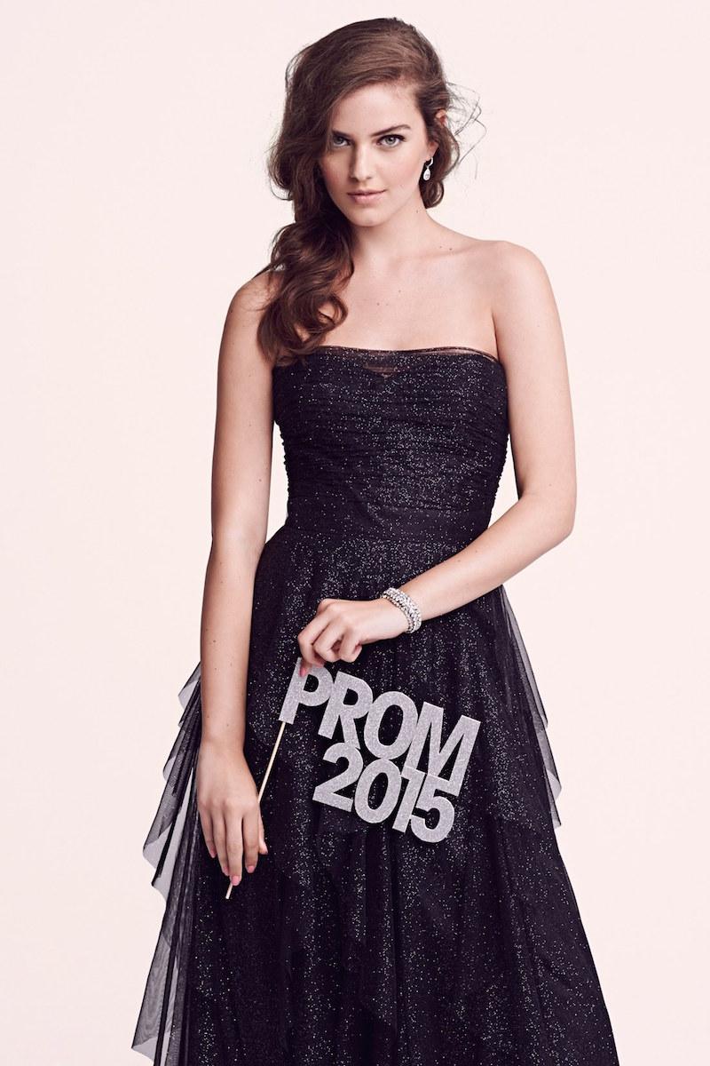 Hailey Logan Glitter Mesh Strapless Ballgown
