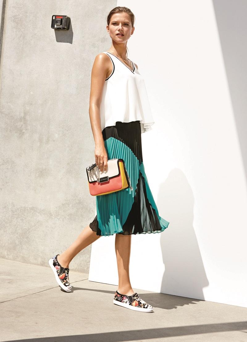 Halogen Sunburst Pleat Midi Skirt