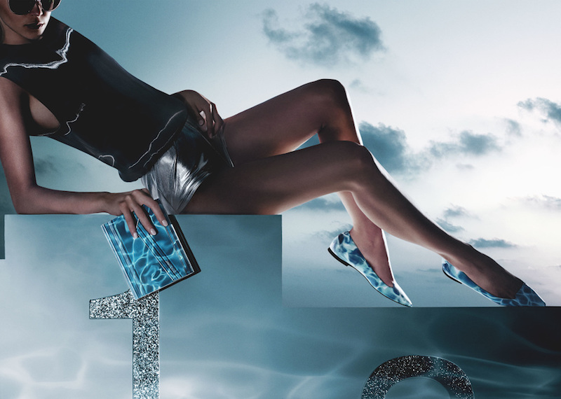 JIMMY CHOO Attila Turquoise Swimming Pool Print Patent Pointy Toe Flats