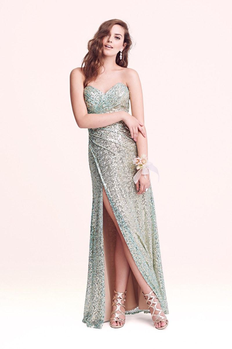 La Femme Strapless Sequin Gown