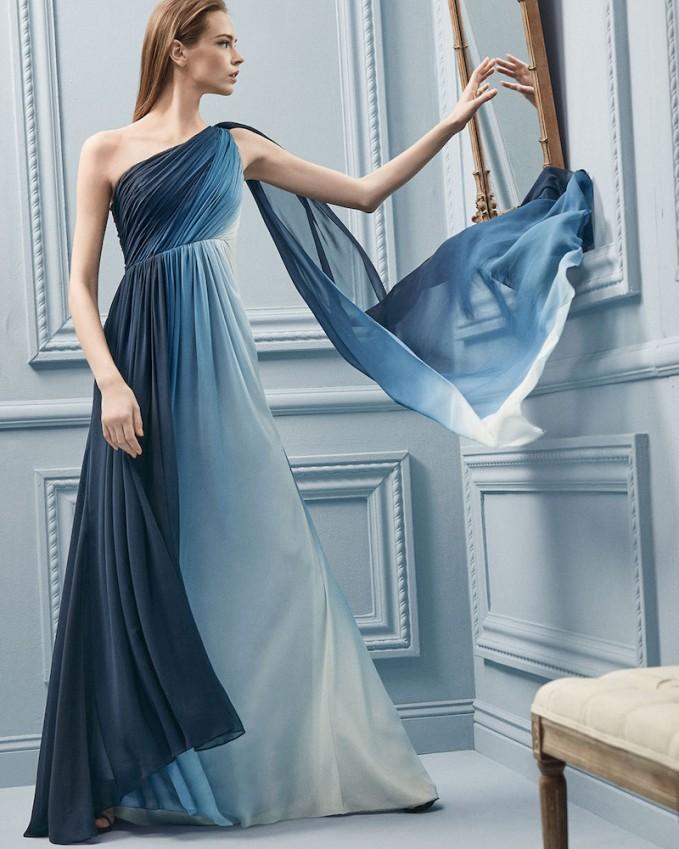 ML Monique Lhuillier One-Shoulder Ombre Draped Gown – NAWO
