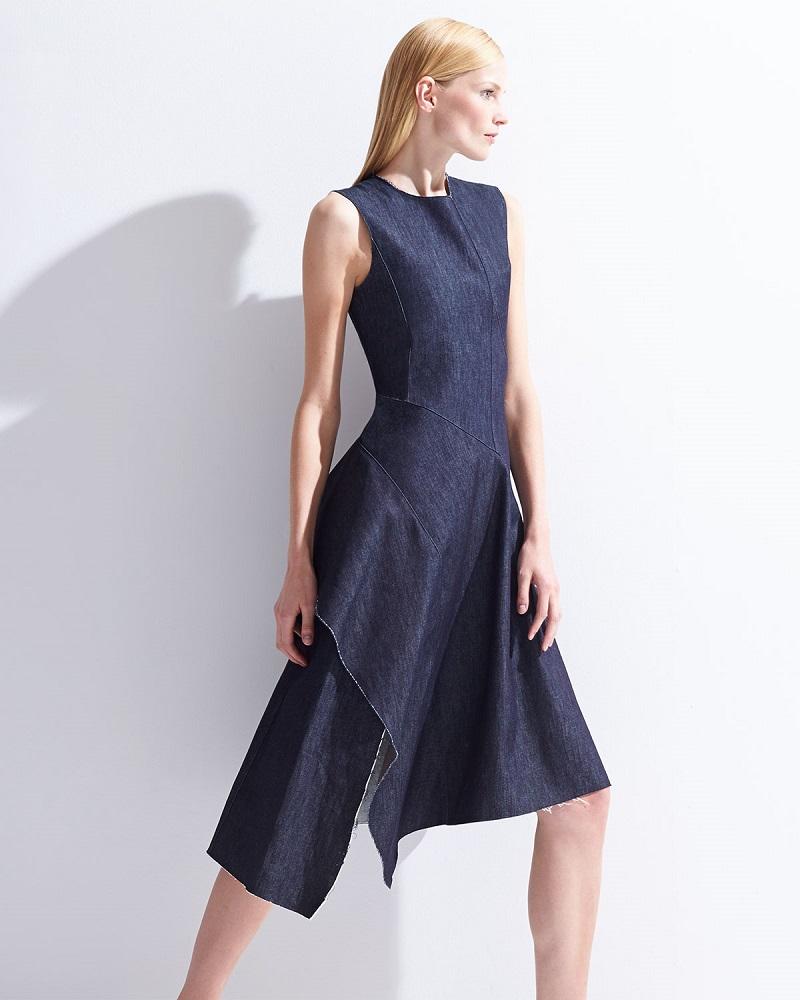 Marni Asymmetric Ruffled Denim Dress