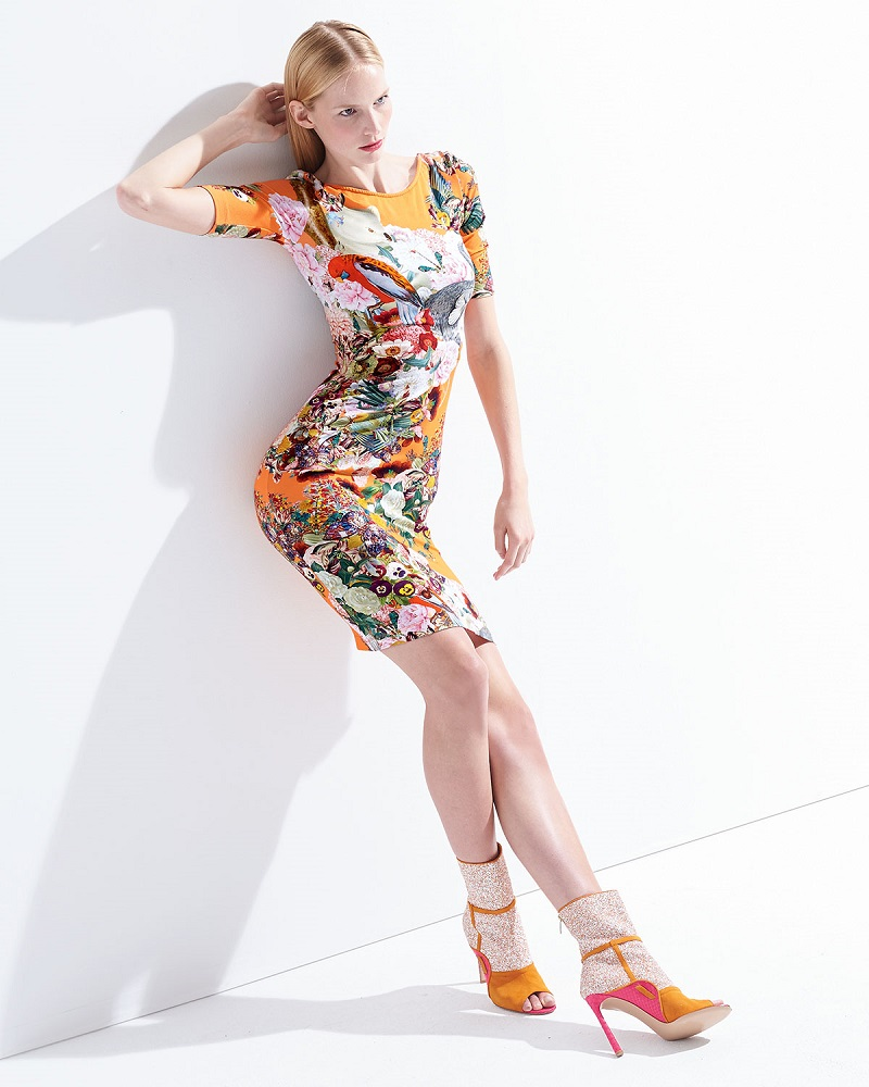 Mary Katrantzou Lobelia Peach Plie Boat-Neck Jersey Dress