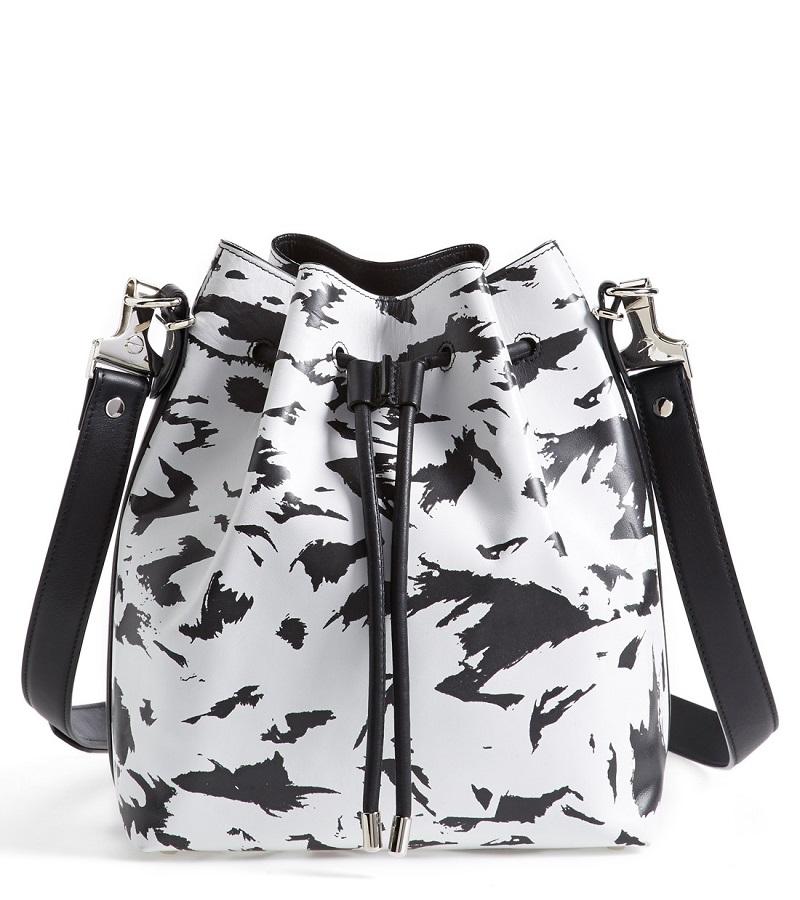 'Medium' Feather Print Leather Bucket Bag