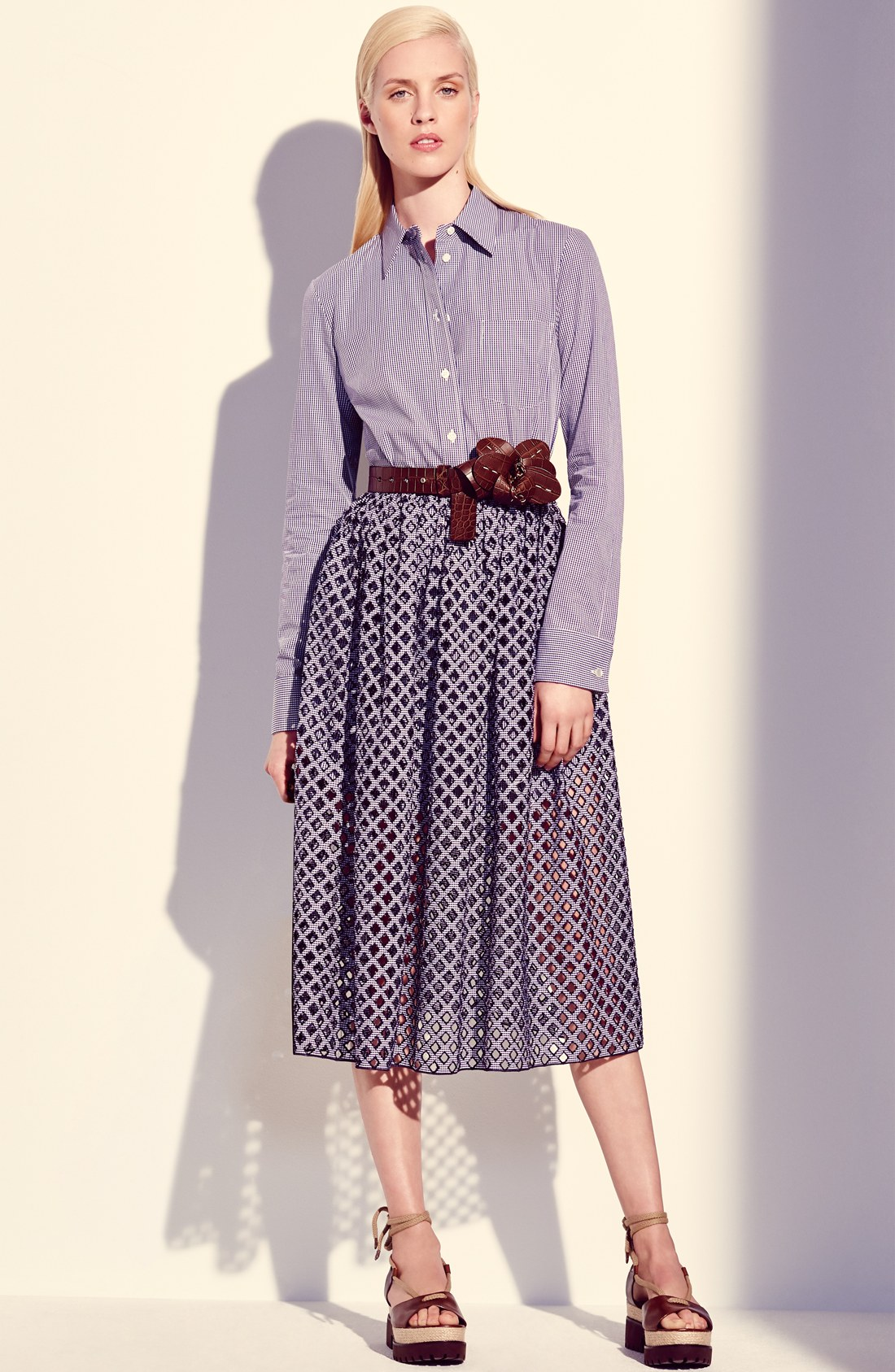 Michael Kors Gingham Shirt & Skirt