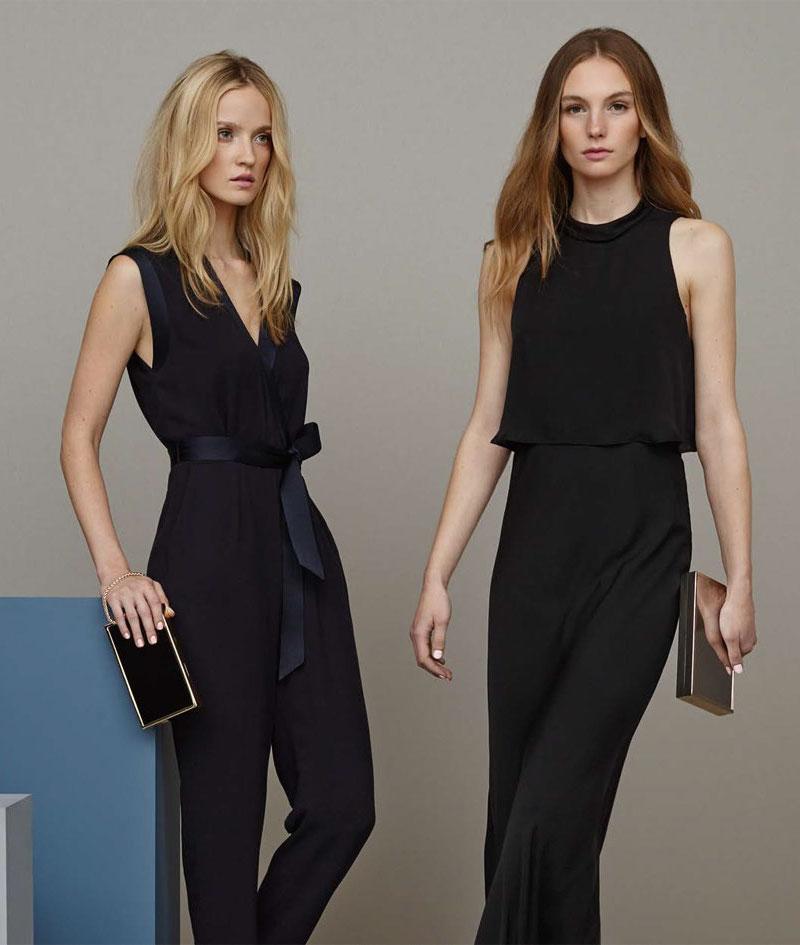 REISS Adella Black Silk Maxi Dress