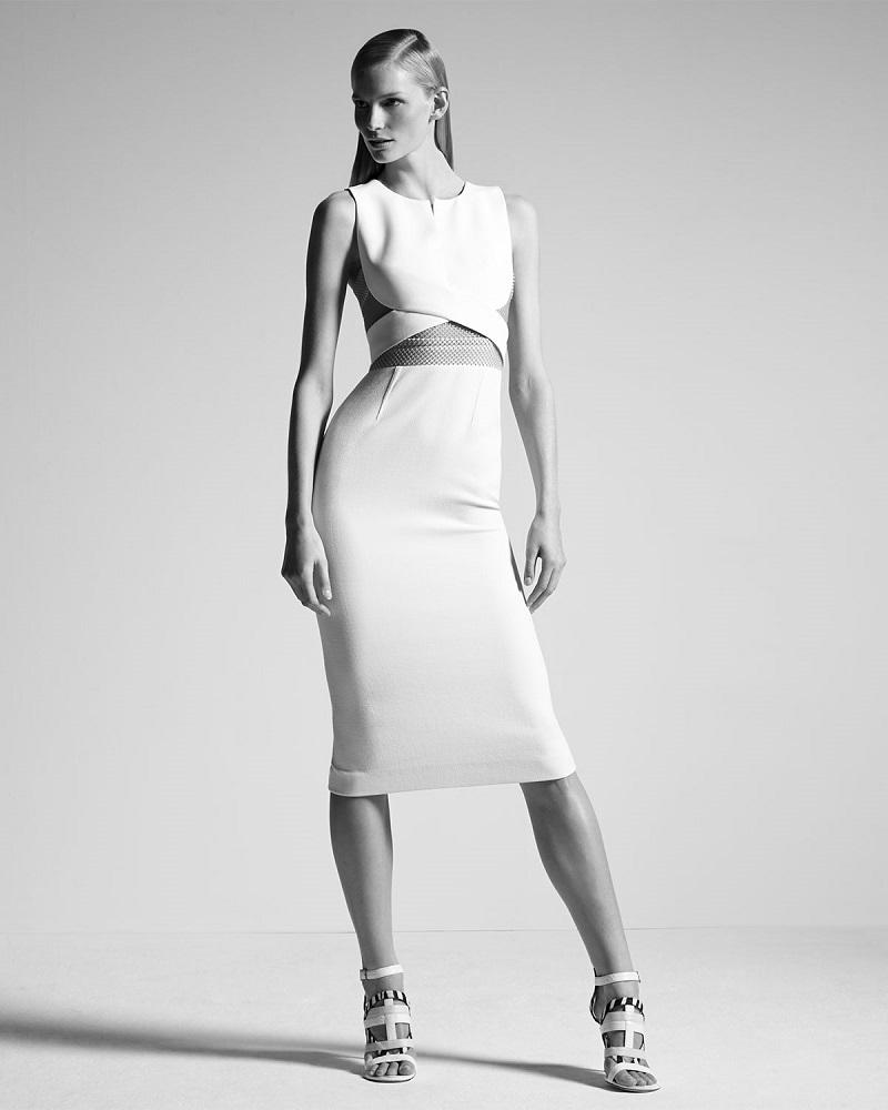 Roland Mouret Betley Mesh-Inset Crisscross Midi Dress
