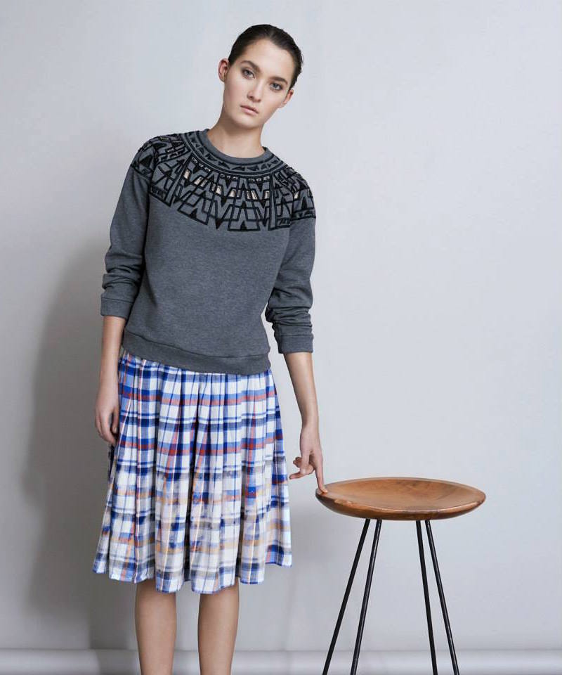 Sea Ny Bleached Plaid Flannel Pleated Skirt